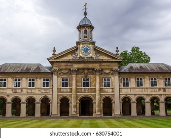 CAMBRIDGE, UK - APR 30, 2017: Emmanuel College in the University of Cambridge, England. It was founded in 1584 by Sir Walter Mildmay, Chancellor of the Exchequer to Elizabeth I.