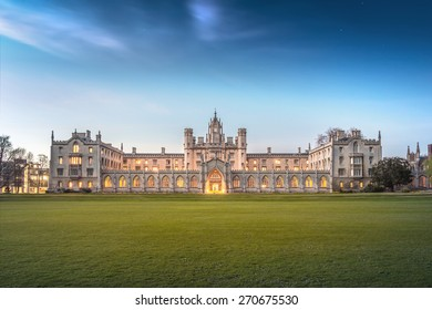 Cambridge, UK - April 18, 2015: Full View of New Court's Clock Tower of St John's College, University of Cambridge in Twilight.  It is also a local landmark of Cambridge.