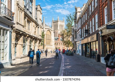 Cambridge, UK - AUG 28 2019: Old Trinity street in Cambridge, UK. It's a university city and the county town of Cambridgeshire, England.