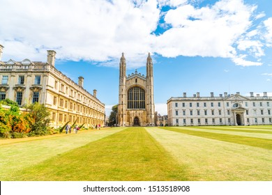 CAMBRIDGE, UK - AUG 28, 2019: King's college (started in 1446 by Henry VI). Historical buildings in Cambridge, UK.