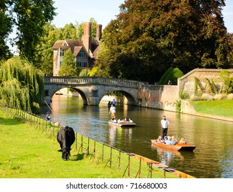 CAMBRIDGE, UK  - AUGUST 16, 2017: Tourists enjoy punting at The Backs of colleges along the River Cam banks in Cambridge.