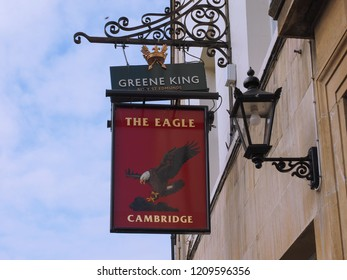 CAMBRIDGE, UK - CIRCA OCTOBER 2018: The Eagle Pub where DNA discovery was announced in 1953 by scientists of the Cavendish Laboratory