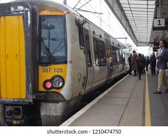 CAMBRIDGE, UK - CIRCA OCTOBER 2018: Train at Cambridge railway station platform