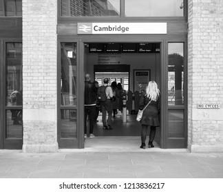 CAMBRIDGE, UK - CIRCA OCTOBER 2018: Cambridge railway station in black and white