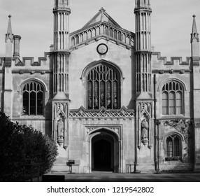 CAMBRIDGE, UK - CIRCA OCTOBER 2018: Corpus Christi College in black and white