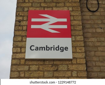CAMBRIDGE, UK - CIRCA OCTOBER 2018: Cambridge railway station sign