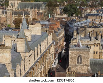 CAMBRIDGE, UK - CIRCA OCTOBER 2018: Aerial view of the city