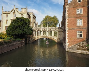 CAMBRIDGE, UK - CIRCA OCTOBER 2018: Bridge of Sighs over river Cam at St John's College