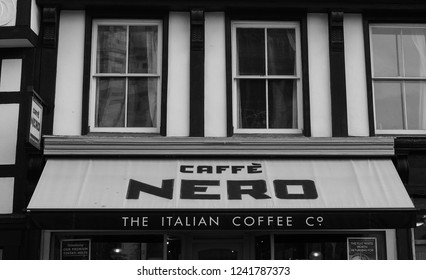 CAMBRIDGE, UK - CIRCA OCTOBER 2018: Caffe Nero storefront in black and white