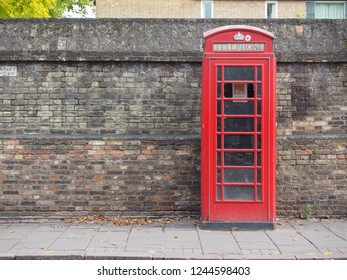 CAMBRIDGE, UK - CIRCA OCTOBER 2018: red telephone box