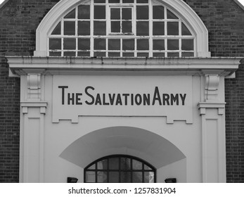 CAMBRIDGE, UK - CIRCA OCTOBER 2018: The Salvation Army in black and white