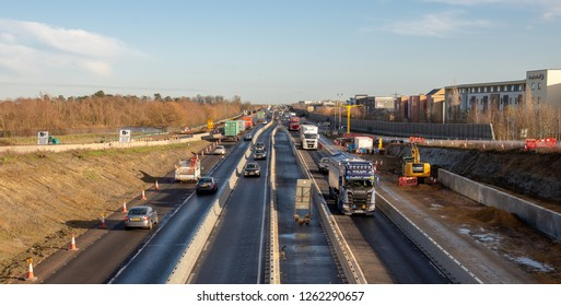 Cambridge UK, December 19, 2018: Misery continues for 2 more years on A14. One of the biggest infrastructure projects in Europe now 50% complete