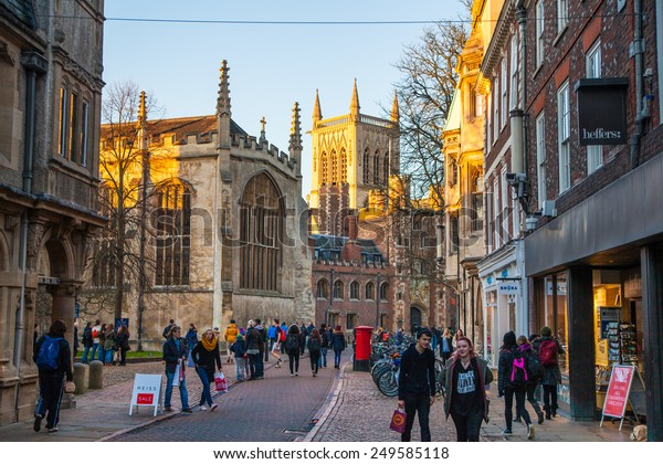 CAMBRIDGE, UK - JANUARY 18, 2015: Trinity street with st.  John college view
