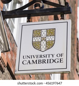 CAMBRIDGE, UK - JULY 18TH 2016: A University of Cambridge sign in central Cambridge, on 18th July 2016.