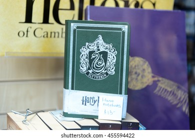 CAMBRIDGE, UK - JULY 19, 2016: Slytherin notebook at the  Harry Potter gift shop in Cambridge. Harry Potter is fictional character created by Joanne K Rowling