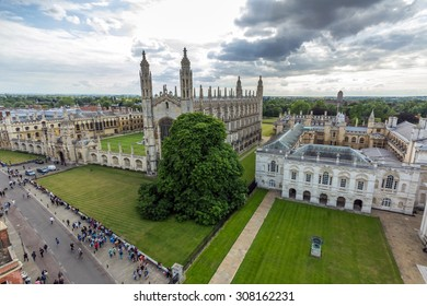 CAMBRIDGE, UK - JULY 23, 2015: View of Cambridge University King's College Chapel and the Old Schools from the top of University Church of St Mary the Great in Cambridge, England.