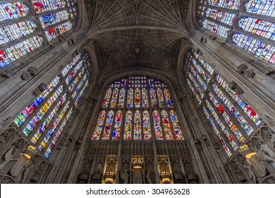CAMBRIDGE, UK - JULY 24, 2015: Interior of King's college chapel in the University of Cambridge, England. It features the world's largest fan vault, constructed by master mason John Wastell.