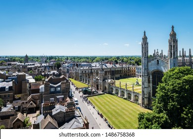 CAMBRIDGE, UK - JUNE 22, 2018: Aerial view of King's College Chapel in Cambridge, one of the greatest examples of late Gothic English architecture.