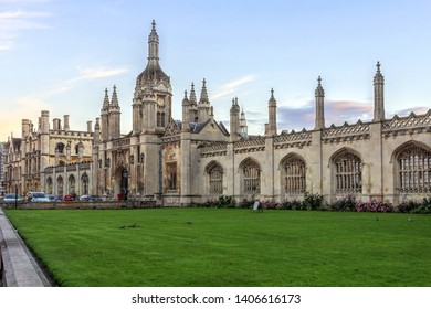 CAMBRIDGE, UK - June 24, 2016: Sunset view of the King's College Porters' Lodge in Cambridge, England (United Kingdom), the main entrance to the historic campus