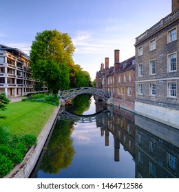 Cambridge, UK - June 9, 2019:  Dawn light on the Mathematical Bridge and River Cam from near Queen's College, Cambridge, UK