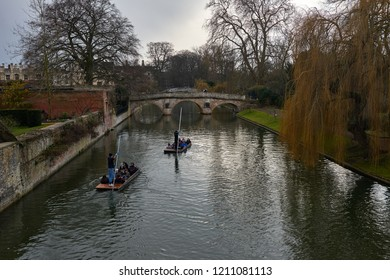 Cambridge, UK - March 11 2018: View of Cambridge university and a punt on Cam river