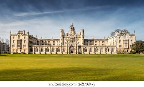 Cambridge, UK - March 22, 2015: Full View of New Court's Clock Tower of St John's College, University of Cambridge in Perfect Bright Sky of Sunny Day.  It is also a local landmark of Cambridge.