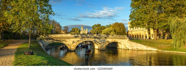 CAMBRIDGE, UK; MAY 01,2017; Tourists on punt trip (sightseeing with boat) along River Cam near Kings College in the city of Cambridge, United Kingdom
