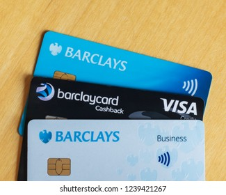 Cambridge, UK - November 24th 2018: Three Barclays cards illustrate today's integrated banking