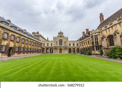 CAMBRIDGE, UK - OCT 19, 2016: Peterhouse chapel. Peterhouse is the oldest college of the University of Cambridge, England. It was founded in 1284 by Hugo de Balsham and Bishop of Ely.