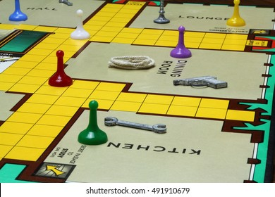 CAMBRIDGE, UK - OCTOBER 2, 2016: 1960s edition of the country house murder mystery game Cluedo or Clue - Patented in the UK by John Waddington Games in 1947 - illustrative editorial