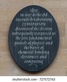 CAMBRIDGE, UK - October 24 : J J Thomson Plaque at Cavendish Laboratory, Cambridge. Taken on 24 October 2016