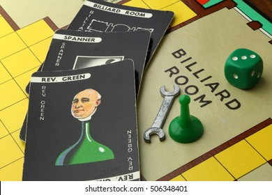 CAMBRIDGE, UK - OCTOBER 29, 2016: 1960s edition of the country house murder mystery game Cluedo or Clue - Patented in the UK by John Waddington Games in 1947 - illustrative editorial