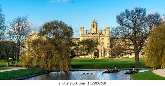 CAMBRIDGE, UK - SEPTEMBER 18TH 2018; St John's College with beautiful blue sky in Cambridge, UK