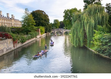 Cambridge, UK - September 21st 2017: Students and tourist punting on the River Cam. The punt is a traditional flat bottomed boat