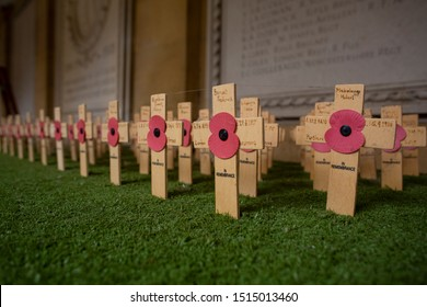 Cambridge, Uk September 8, 2017. Poppies on crosses commemorating the fallen soldiers of World War I