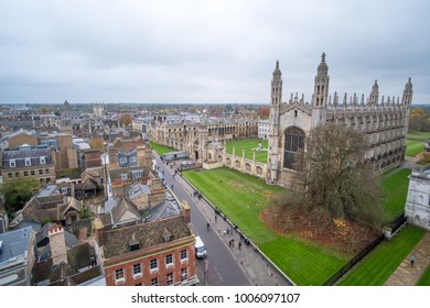 Cambridge, United Kingdom - 15 November 2017: Aerial view of King's College, University of Cambridge.