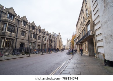 Cambridge, United Kingdom - 15 November 2017: View of people walking along the building in the city of Cambridge, England