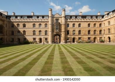 CAMBRIDGE, UNITED KINGDOM - August 15 2016: The court of  Corpus Christi Chapel at Cambridge university