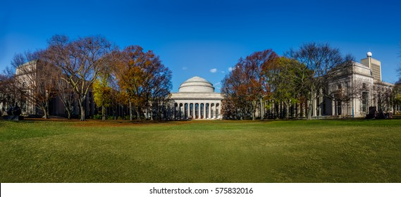 CAMBRIDGE, USA - December 01, 2016:  Panoramic view of Massachusetts Institute of Technology (MIT) Dome - Cambridge, Massachusetts, USA