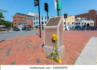 CAMBRIDGE, USA - JULY 14, 2019 : King Bhumibol Adulyadej Square commemorates the birth of His Majesty King Bhumibol Adulyadej of Thailand at Mount Auburn Hospital in Cambridge, Boston Massachusetts