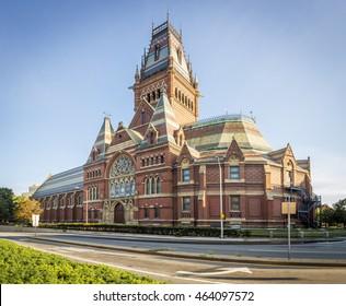 CAMBRIDGE, USA - JULY 30: The historic architecture of the worldwide acclaimed Harvard University at sunrise in Cambridge, Massachusetts, USA on July 30, 2016.
