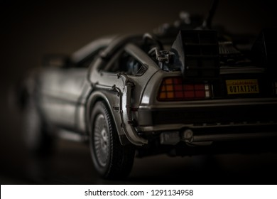 Cambridgeshire, England - April 5th 2018: A macro shot of a Welly die-cast 1/24 scale model DeLorean car from the movie Back To The Future.