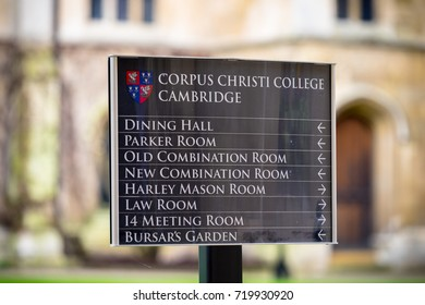 CAMBRIDGE,UK-SEPTEMBER 3,2017:Information board of Corpus Christi College which is a constituent college of the University of Cambridge. It is the only college founded by Cambridge townspeople