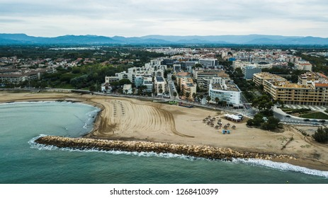 Cambrils (Province of Tarragona) Costa Dorada beach, Catalonia. Travel destination in Spain. Aerial view in the morning
