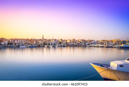Cambrils, Spain - July 30, 2016: Landscape from the port of Cambrils at sunset, with nice blue-magenta sky