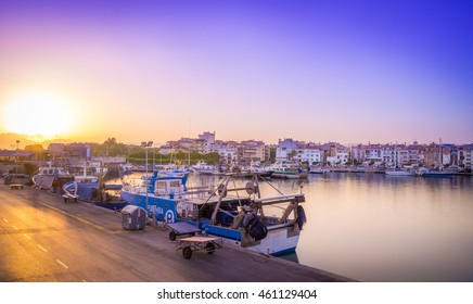 Cambrils, Spain - July 30, 2016: Landscape from the port of Cambrils at sunset, with nice blue, magenta sky
