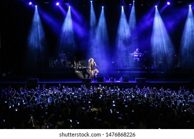 Cambrils, Tarragona / Spain - August 10 2019: Rosario Flores performs at her concert during the Cambrils Music Festival.