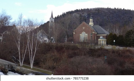 Camden Maine library and church