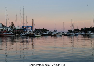 CAMDEN, MAINE USA - OCTOBER 4, 2017: Port of Camden Harbor, with a variety of sailboats and motorboats docked near town.