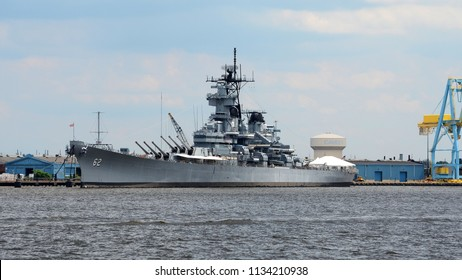 Camden, New Jersey - June 20th, 2018: The USS New Jersey Museum Ship Docked in the Delaware River between Camden, New Jersey and Philadelphia, Pennsylvania